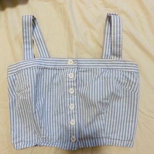 Striped button front Crop top